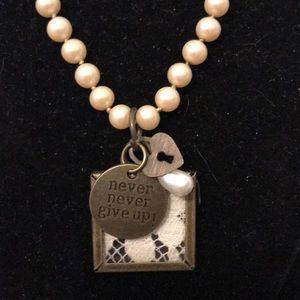 Jewelry - Quote Necklace Artisan Survivor VTG pearls VERSE